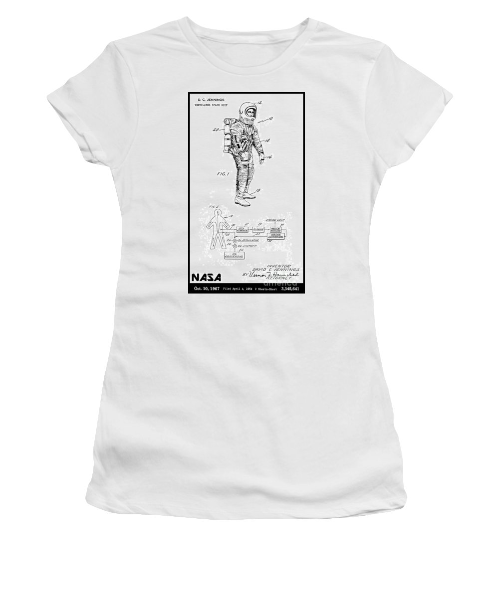 Nasa Women's T-Shirt (Athletic Fit) featuring the digital art 1967 Nasa Astronaut Ventilated Space Suit Patent Art 3 by Nishanth Gopinathan