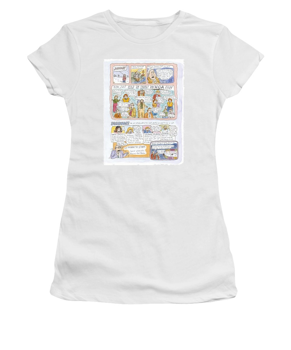 1998: A Look Back (review Of Clinton - Lewinsky Affair And Other 1998 Events.) Politics Women's T-Shirt (Athletic Fit) featuring the drawing 1998: A Look Back by Roz Chast