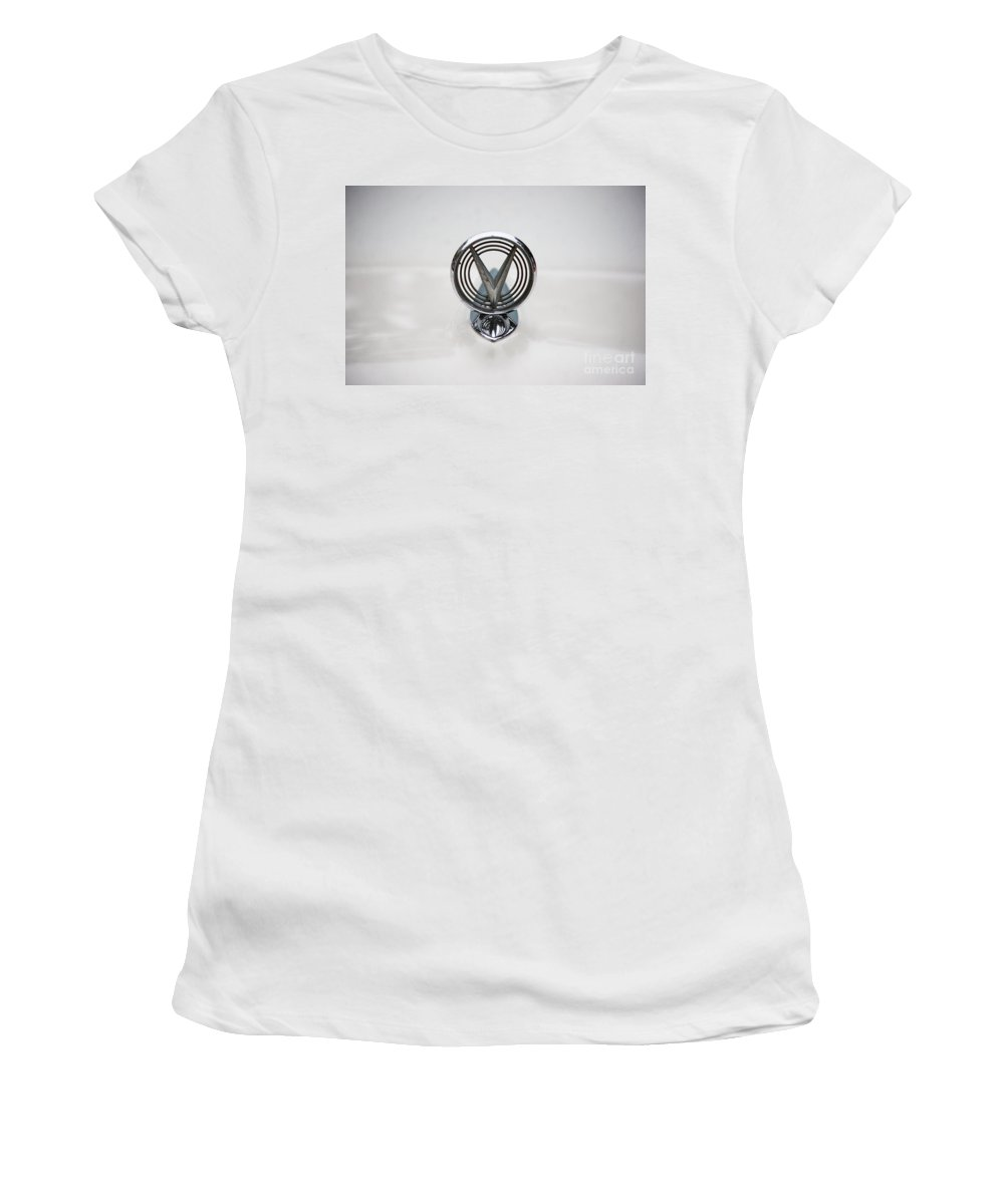 1955 Buick Special Photographs Women's T-Shirt (Athletic Fit) featuring the photograph 1955 Buick Special Hood Ornament by Brooke Roby