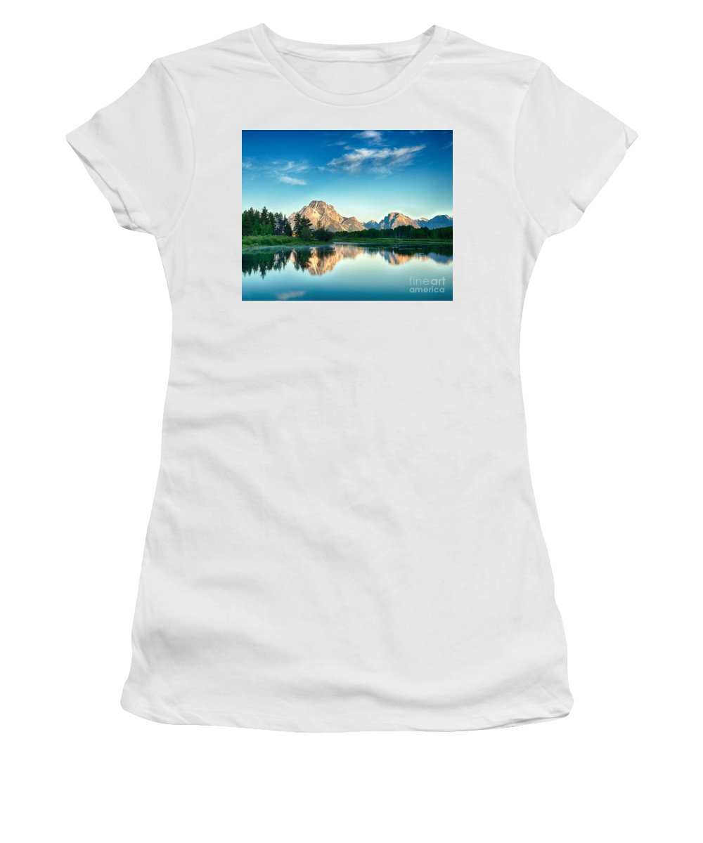 Tetons Women's T-Shirt (Athletic Fit) featuring the photograph All Is Calm by Claudia Kuhn