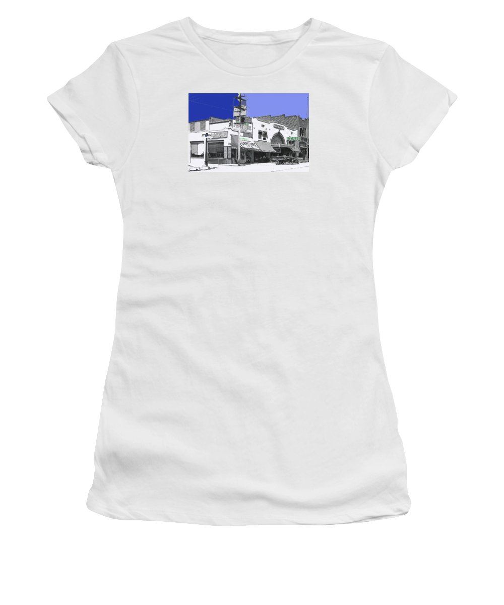 Allan Dwan Soldiers Of Fortune 1919 Lyric Theater Tucson Arizona Wallace Beery Mgm Essanay Fox Tucson Theater Color Added Women's T-Shirt (Athletic Fit) featuring the photograph Allan Dwan Soldiers Of Fortune 1919 Lyric Theater Tucson Arizona 1919-2008 by David Lee Guss