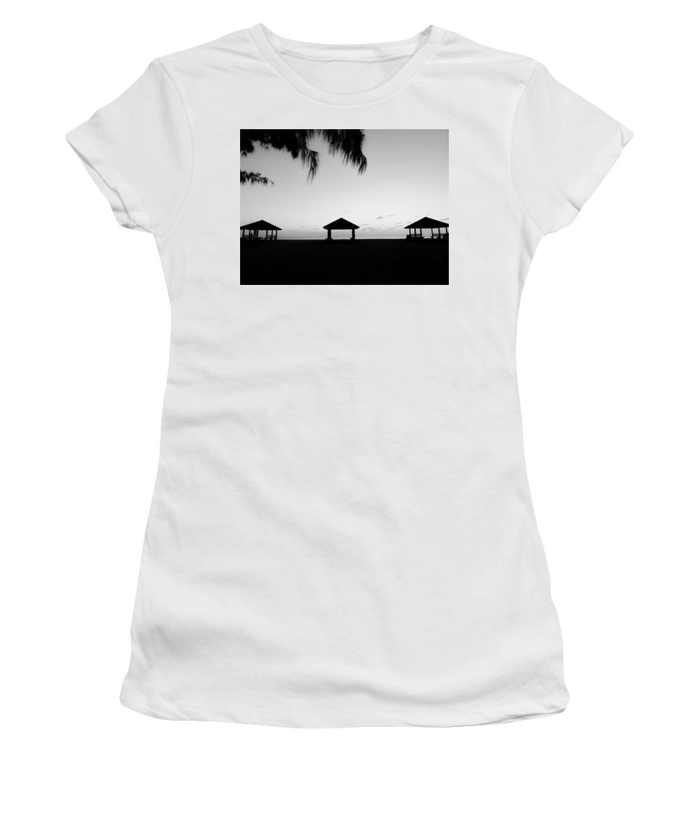 Black And White Women's T-Shirt featuring the photograph Beach Huts by Amar Sheow
