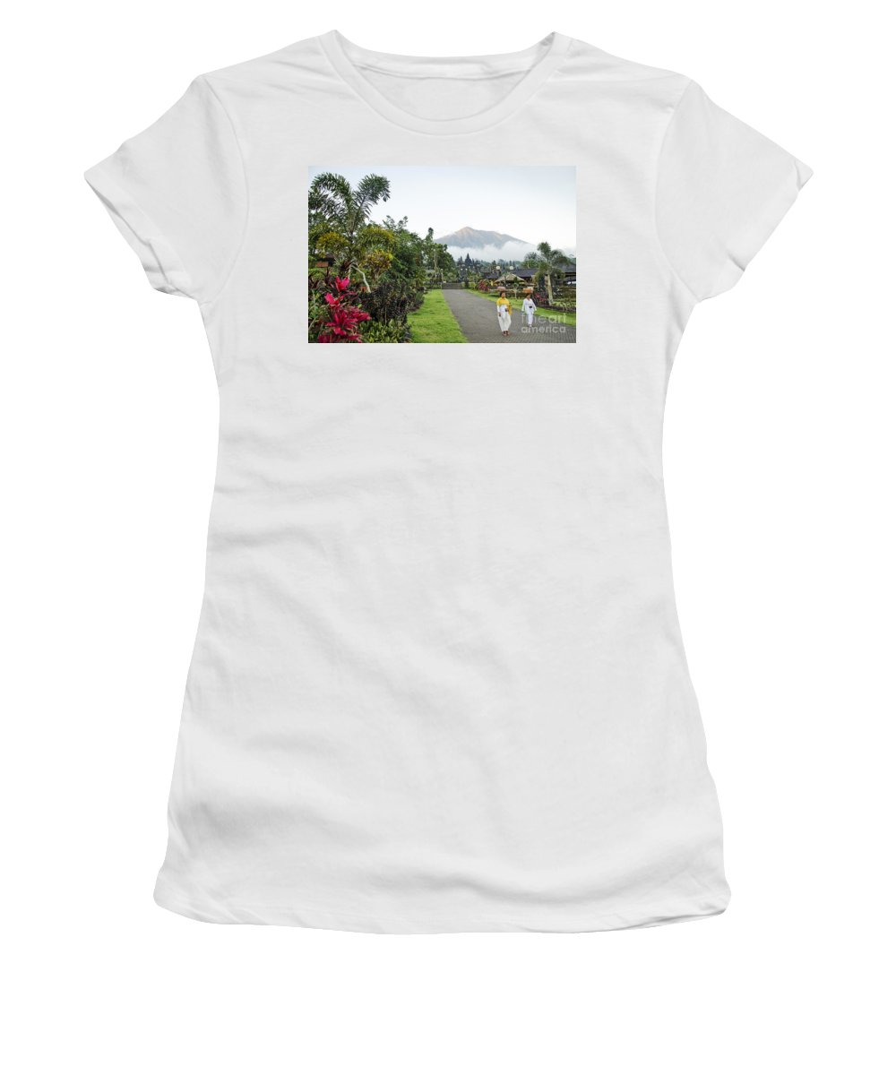 Agung Women's T-Shirt featuring the photograph Besakih Temple And Mount Agung View In Bali Indonesia by Jacek Malipan