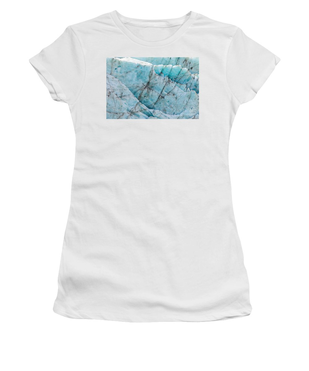 Abstract Women's T-Shirt (Athletic Fit) featuring the photograph Blue Glacier Ice Background Texture Pattern by Stephan Pietzko
