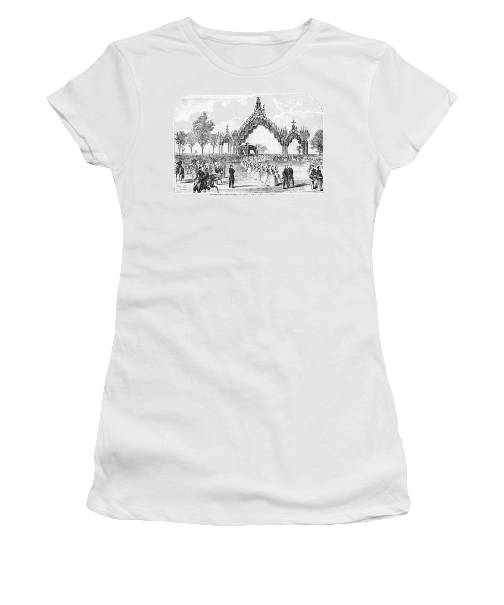 1865 Women's T-Shirt (Athletic Fit) featuring the drawing Chicago Lincoln Funeral by Granger