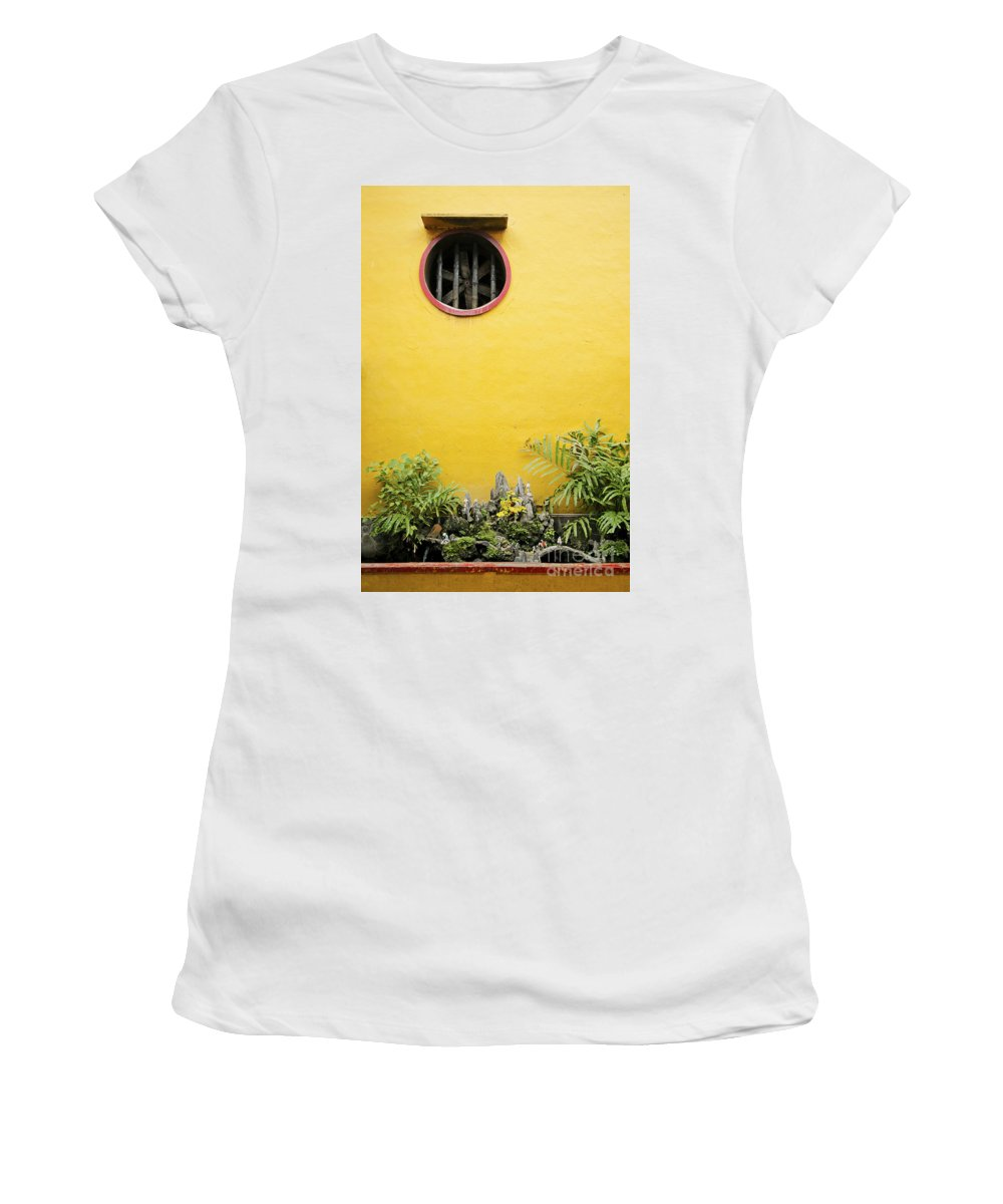 Architecture Women's T-Shirt (Athletic Fit) featuring the photograph Chinese Temple Garden Detail In Vietnam by Jacek Malipan
