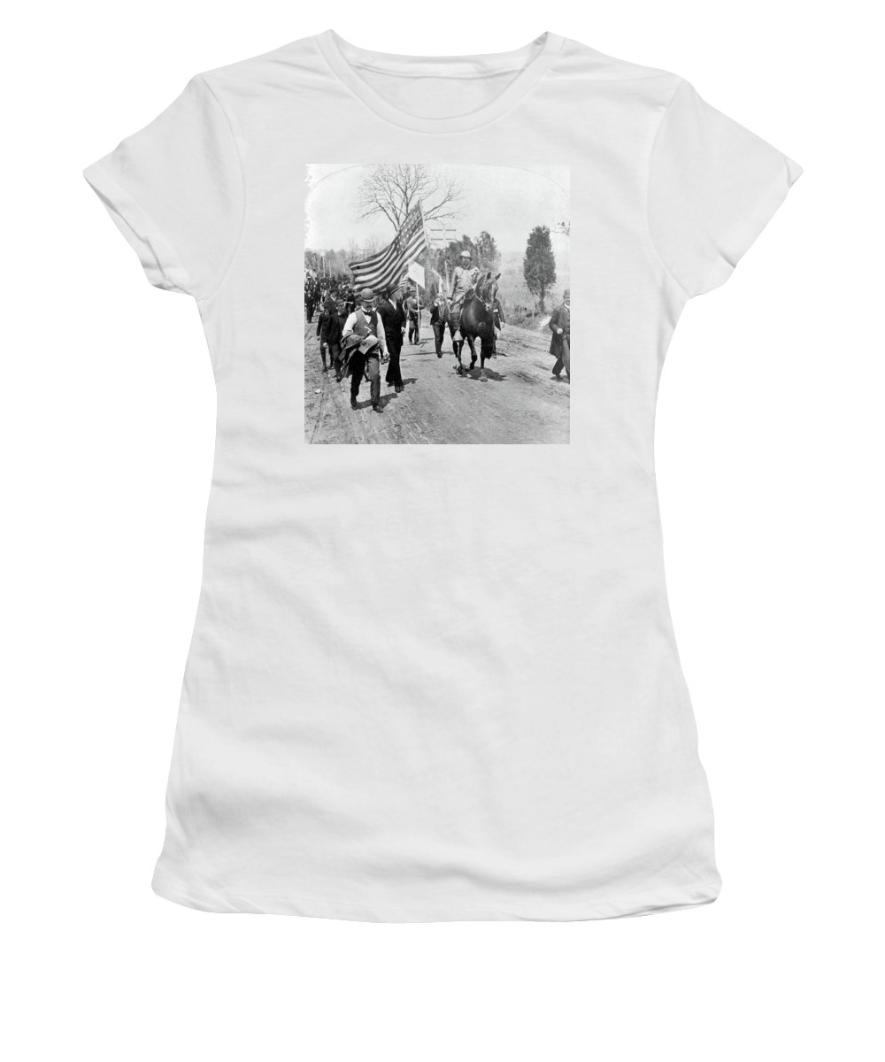 1894 Women's T-Shirt (Athletic Fit) featuring the photograph Coxey's Army, 1894 by Granger