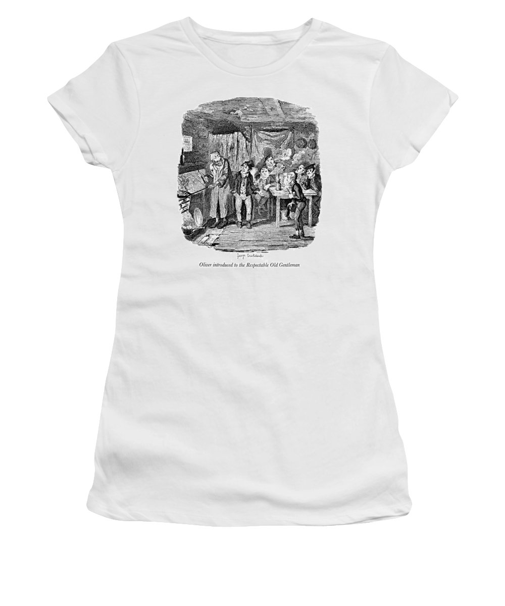 1837 Women's T-Shirt (Athletic Fit) featuring the painting Dickens Oliver Twist by Granger