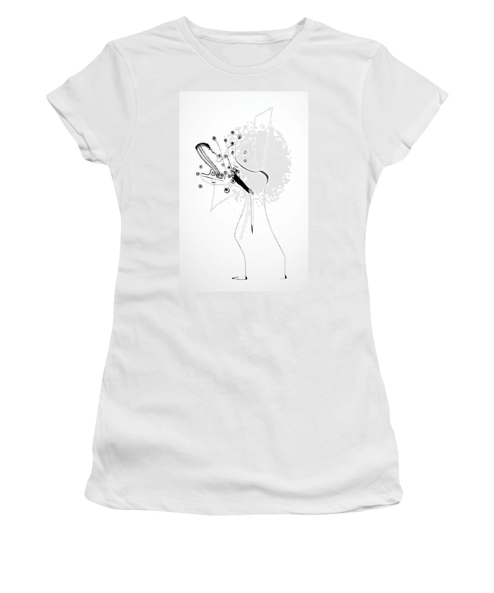 Jesus Women's T-Shirt featuring the drawing Dinka Silhouette - South Sudan by Gloria Ssali