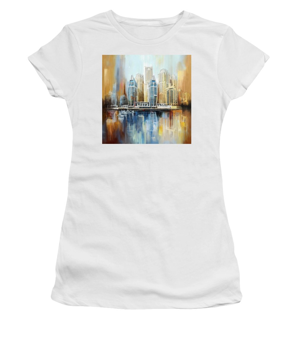 Dubai Women's T-Shirt featuring the painting Dubai Skyline by Corporate Art Task Force