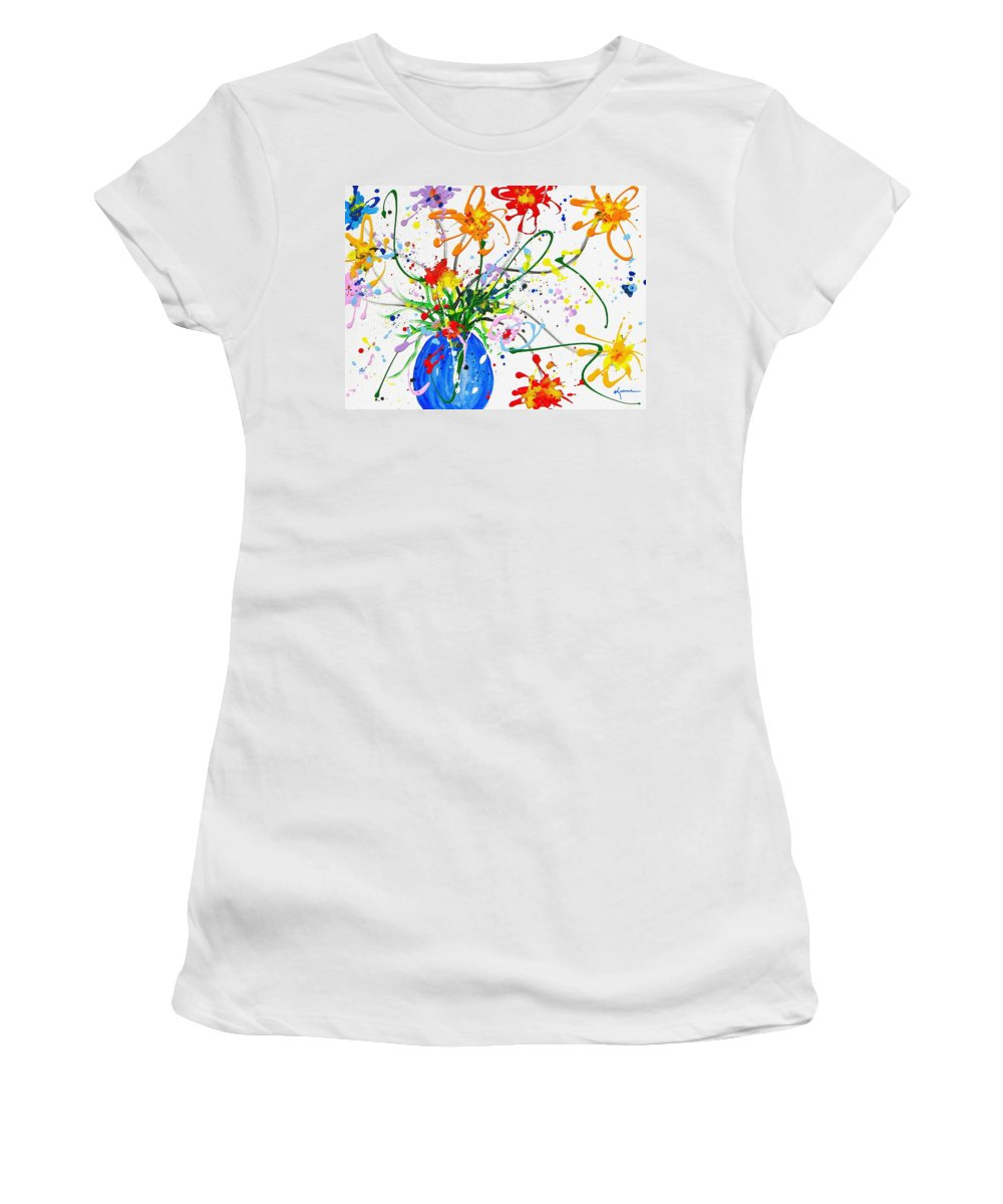 Floral Women's T-Shirt featuring the painting For You by Kume Bryant