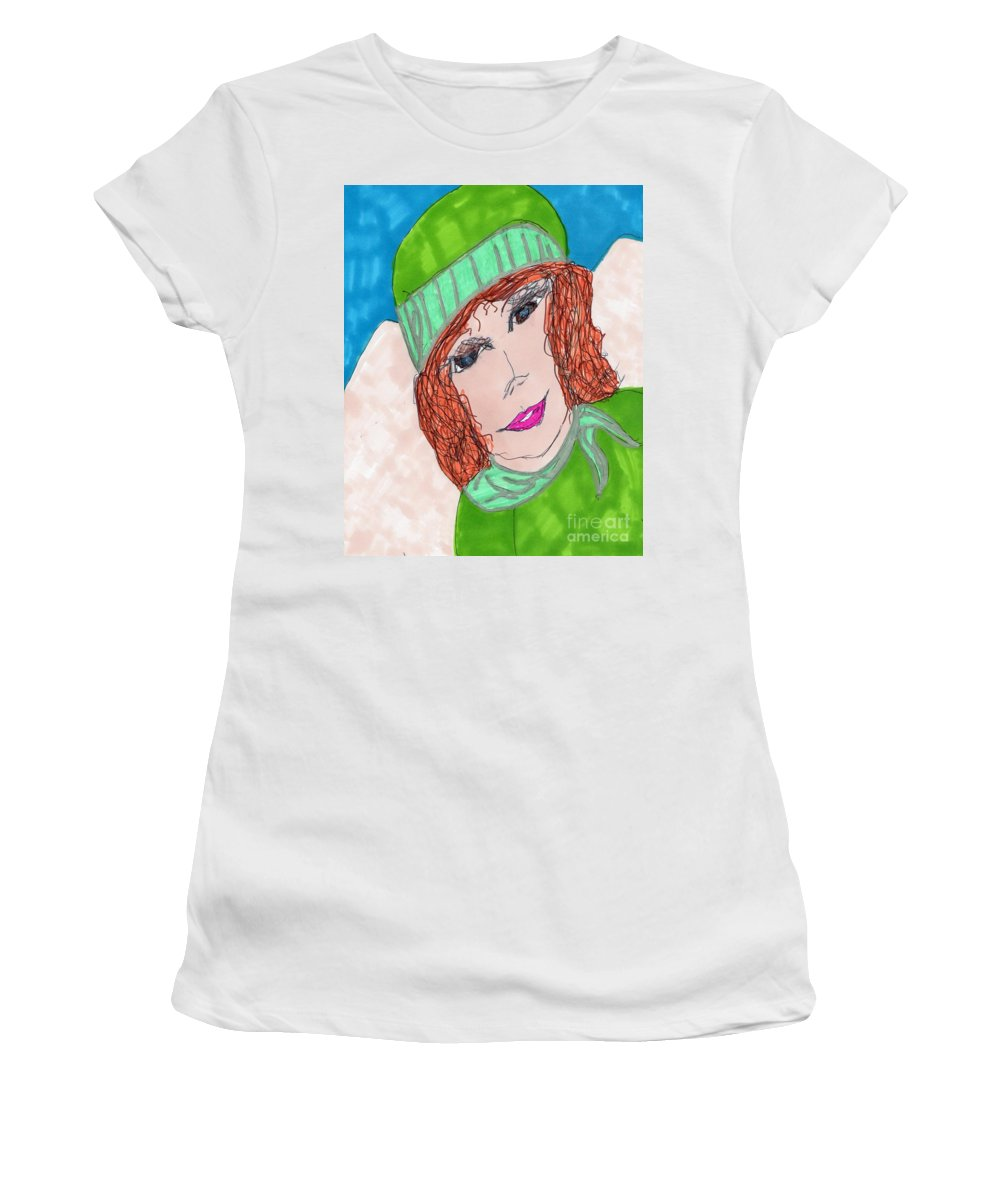 Lady In Green Outfit Women's T-Shirt featuring the mixed media Green Hat by Elinor Helen Rakowski