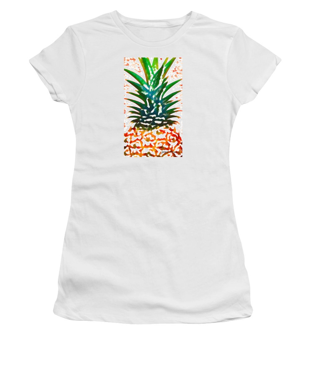 Food Women's T-Shirt (Athletic Fit) featuring the digital art Hawaiian Pineapple by James Temple