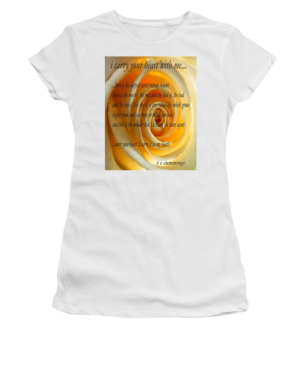 Ee Cummings Women's T-Shirt (Athletic Fit) featuring the photograph I Carry Your Heart With Me... by Steve Harrington