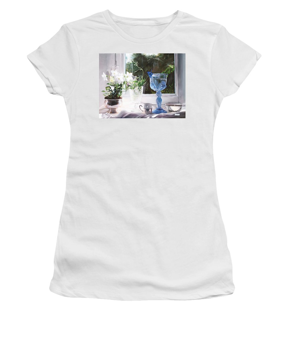 Still Life Women's T-Shirt featuring the painting Il Calice Blu by Danka Weitzen