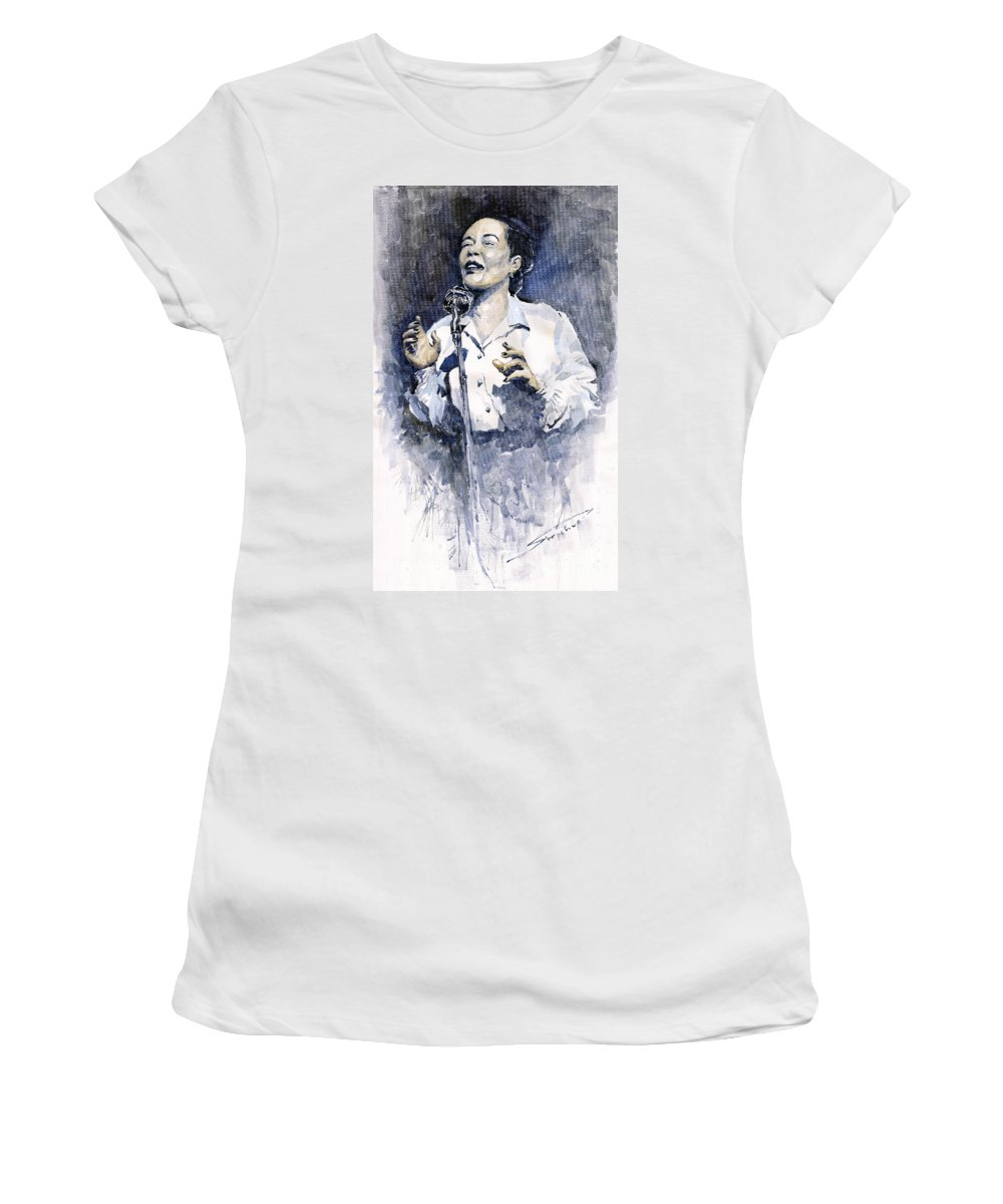 Watercolor Women's T-Shirt (Athletic Fit) featuring the painting Jazz Billie Holiday Lady Sings The Blues by Yuriy Shevchuk