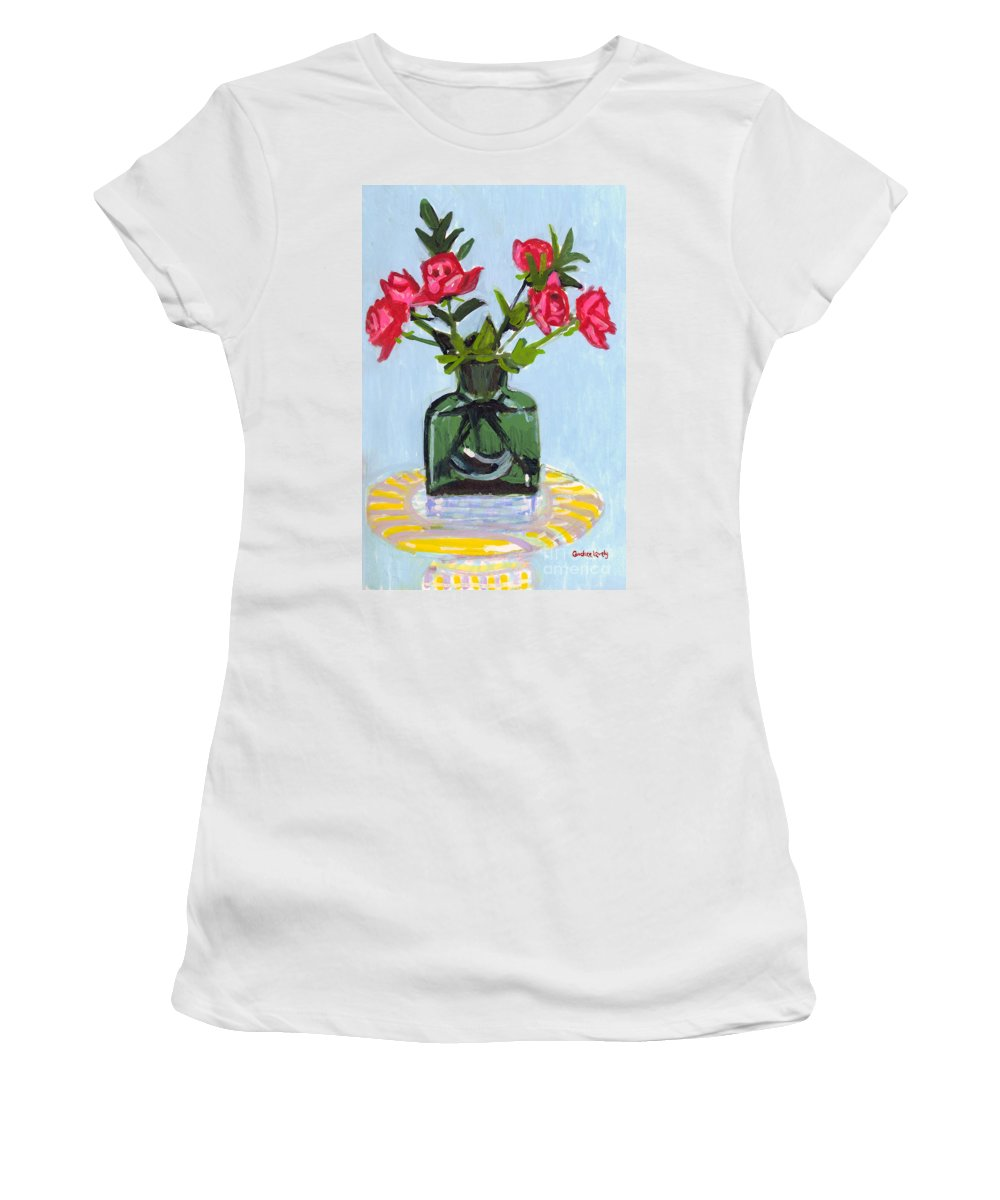 Red Roses Women's T-Shirt featuring the painting Jeff's Vase And Rodger's Roses by Candace Lovely