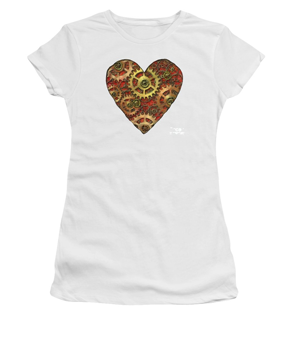 Heart Women's T-Shirt (Athletic Fit) featuring the mixed media Mechanical Heart by Michal Boubin