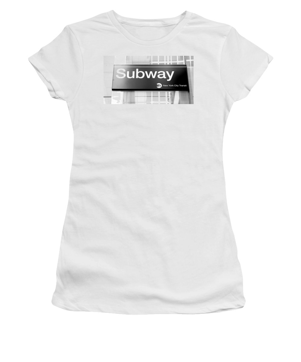 Billboard Women's T-Shirt (Athletic Fit) featuring the photograph Nyc Subway Sign by Valentino Visentini