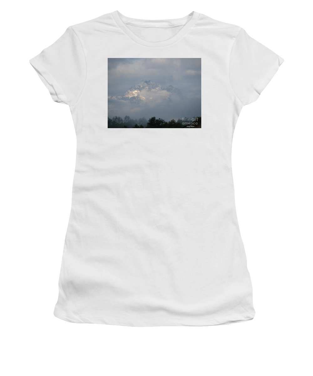 Rocky Mountains Women's T-Shirt (Athletic Fit) featuring the photograph Out Of The Clouds by Greg Patzer