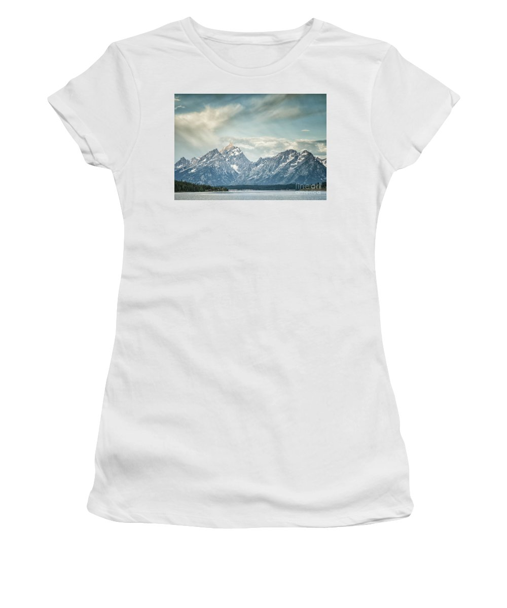Mountains Women's T-Shirt (Athletic Fit) featuring the photograph Partly Cloudy by Claudia Kuhn