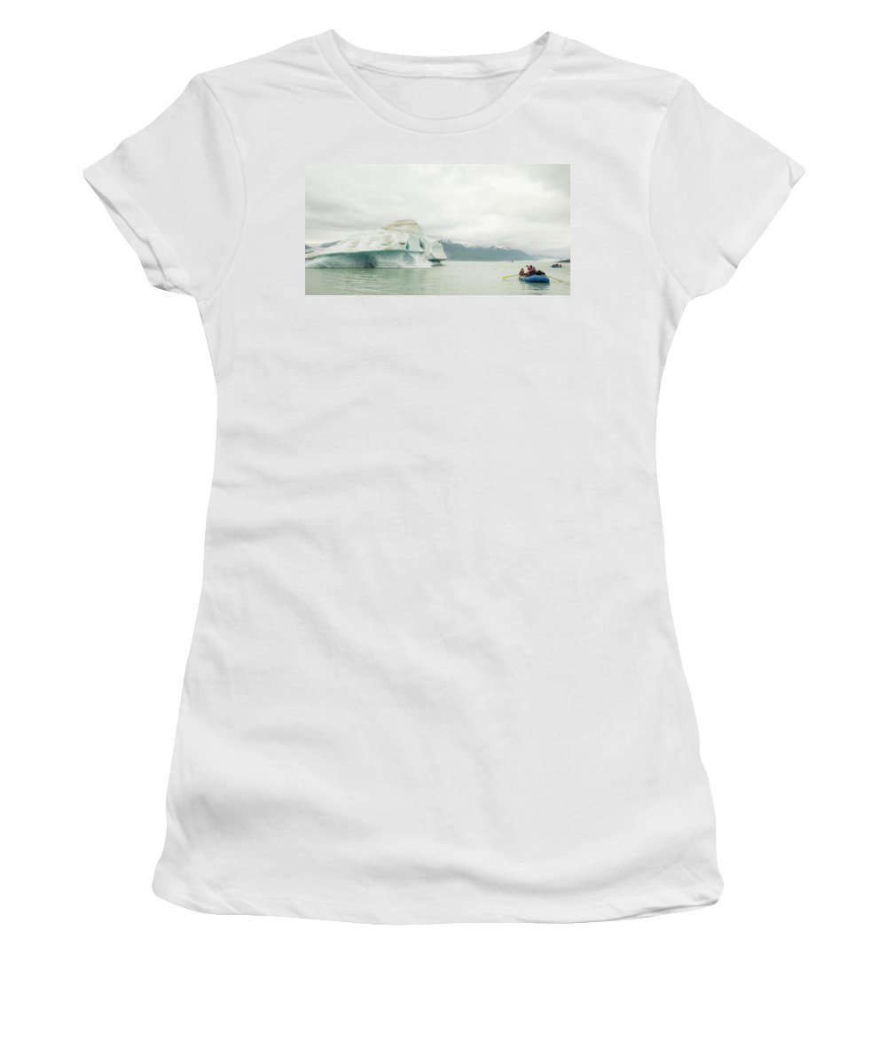 Famous Place Women's T-Shirt featuring the photograph Rafters Navigating Icebergs On Alsek by Josh Miller Photography