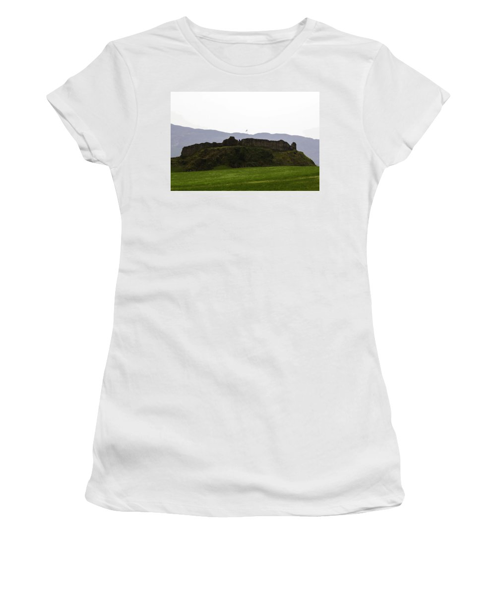 Blue Sky Women's T-Shirt (Athletic Fit) featuring the digital art Saltire And The Ruins Of The Urquhart Castle In Scotland by Ashish Agarwal