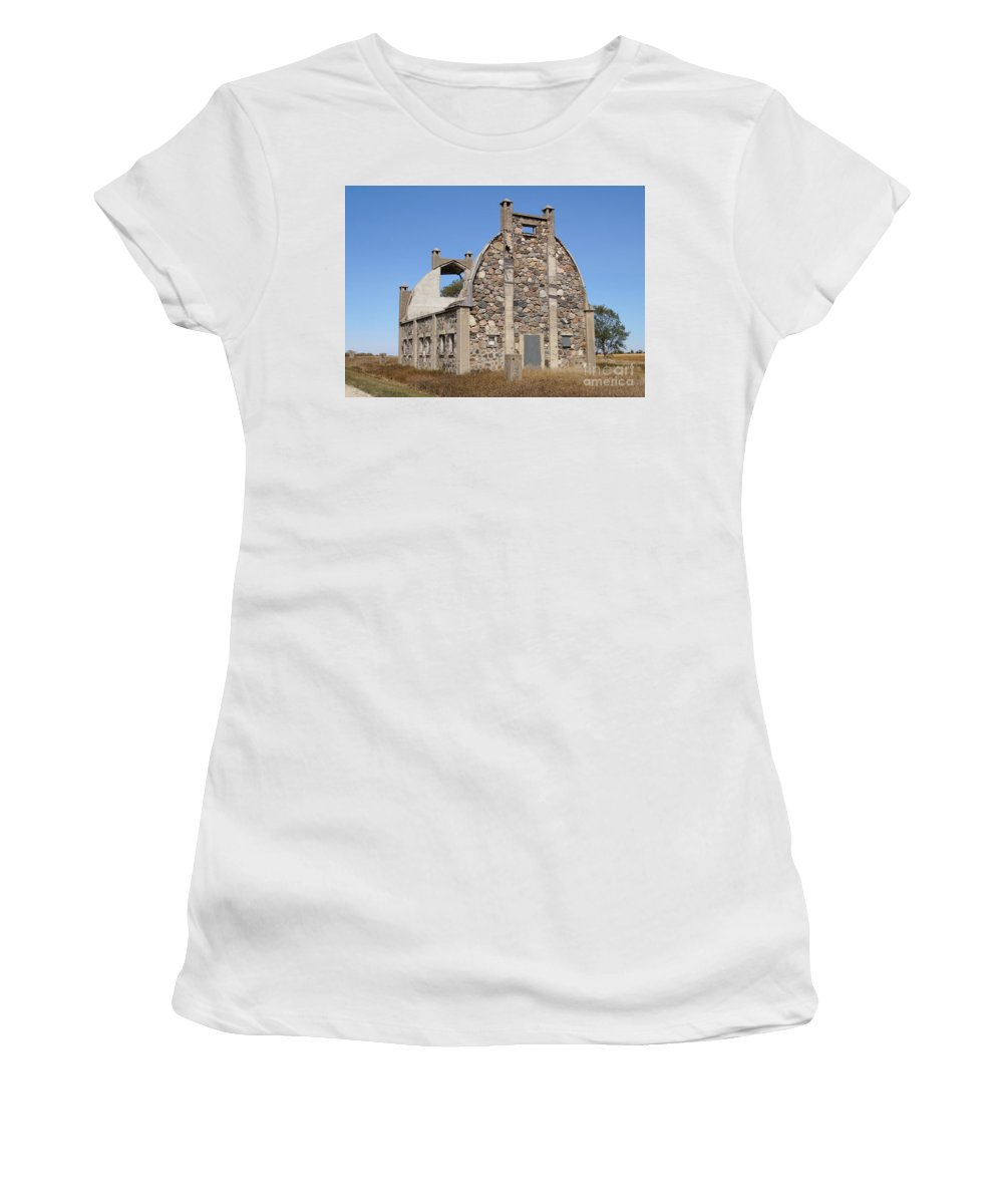 Nature Women's T-Shirt (Athletic Fit) featuring the photograph Schott Stone Barn by Lori Tordsen