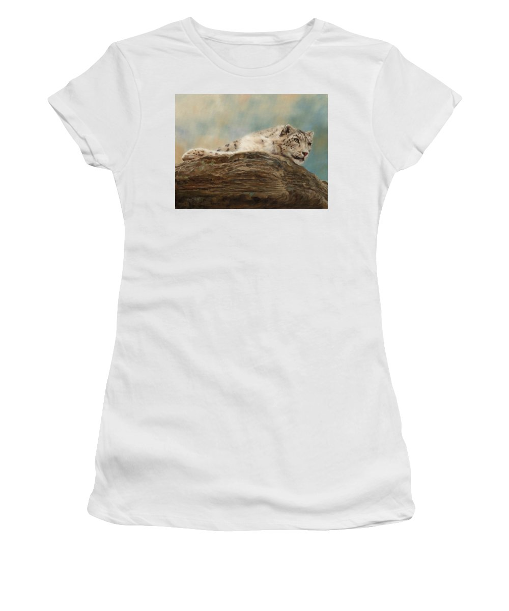 Snow Leopard Women's T-Shirt (Athletic Fit) featuring the painting Snow Leopard by David Stribbling