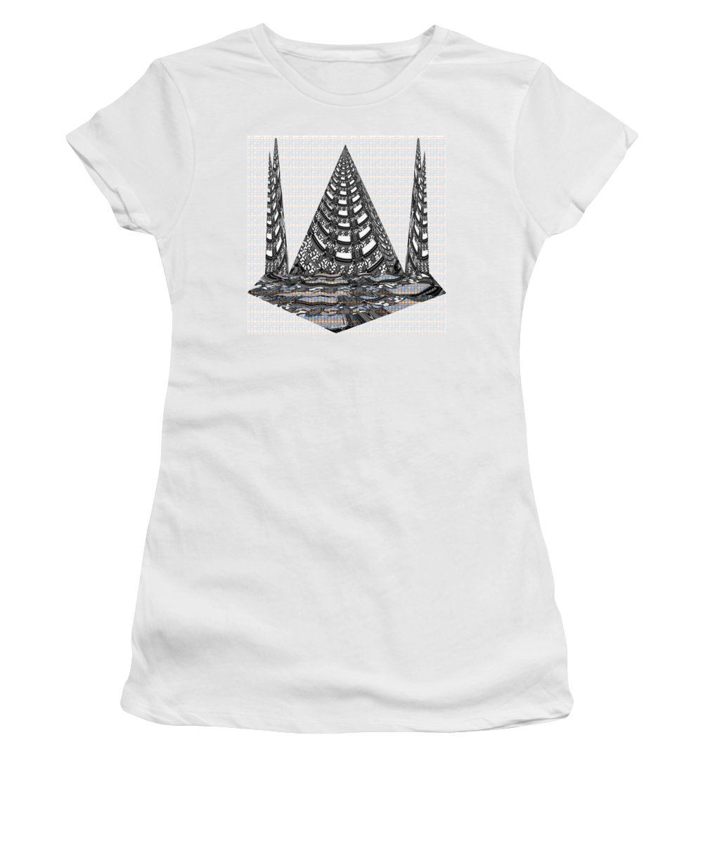 Pyramid Women's T-Shirt featuring the mixed media Sparkle Bnw White Pyramid Dome Ancient Arch Architecture Formation Obtained During Deep Meditation W by Navin Joshi