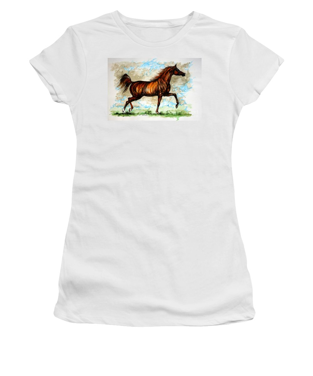 Horse Women's T-Shirt (Athletic Fit) featuring the painting The Chestnut Arabian Horse by Angel Ciesniarska
