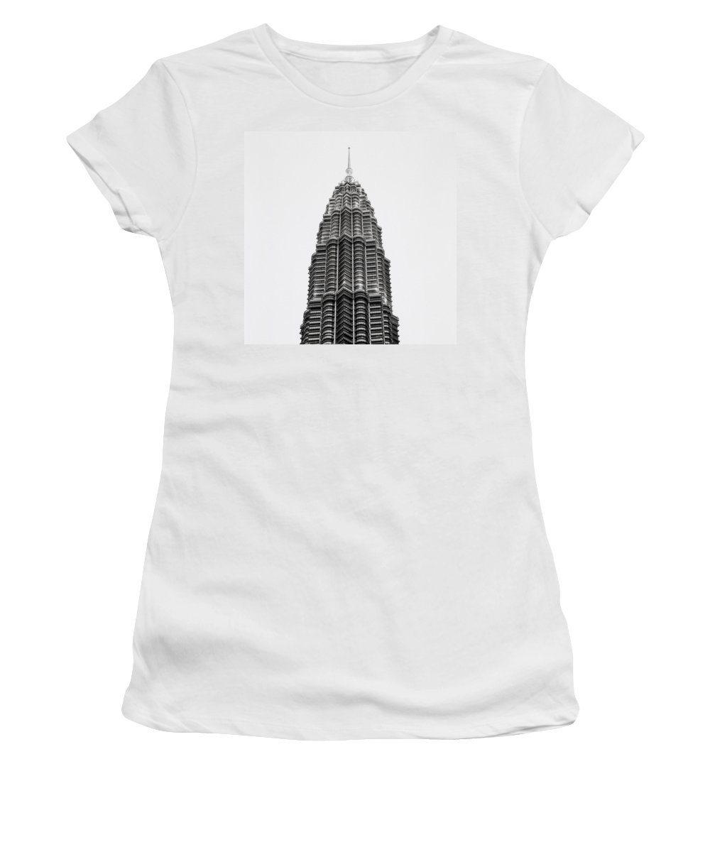 Petronas Towers Women's T-Shirt (Athletic Fit) featuring the photograph The Petronas Towers by Shaun Higson