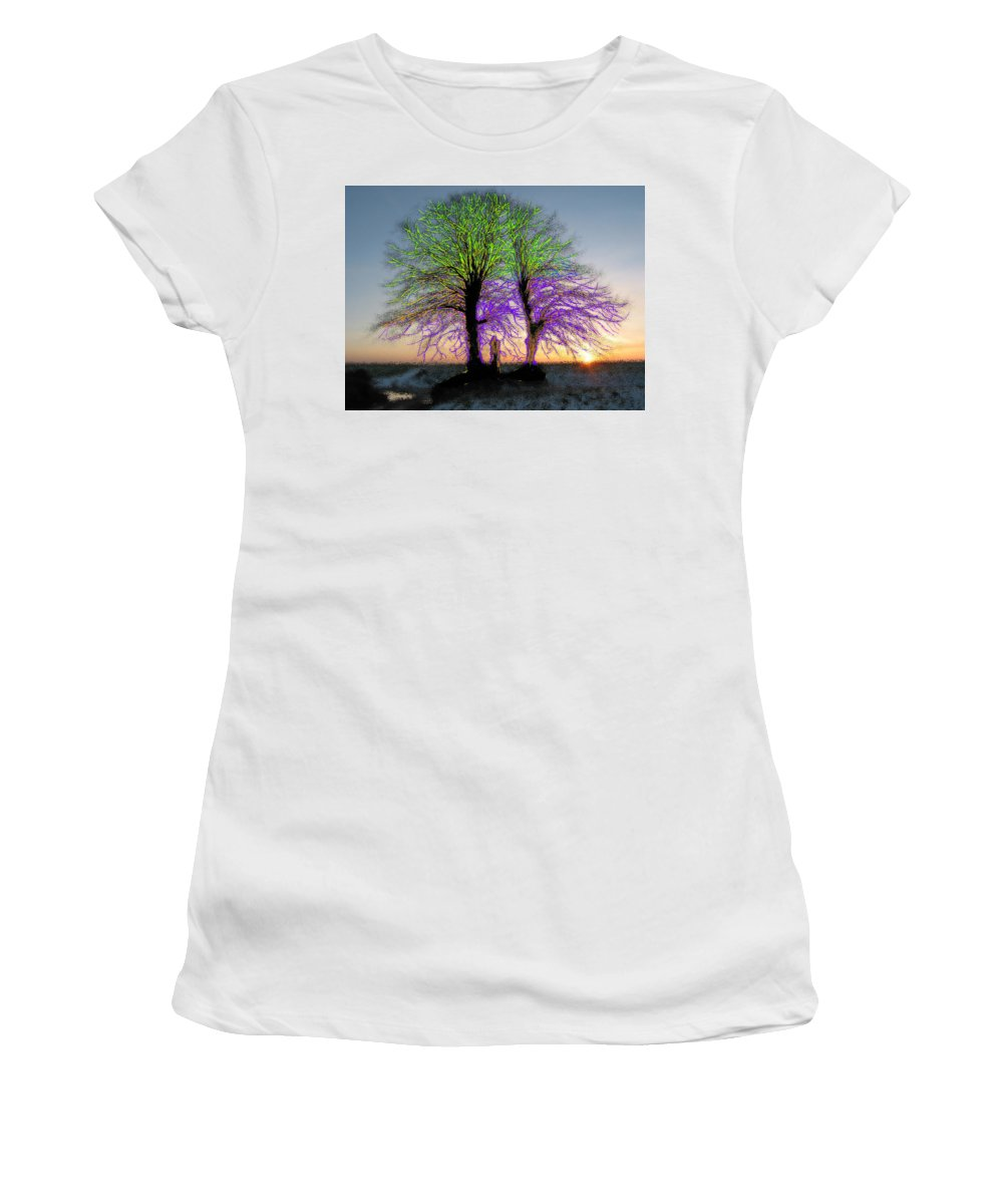 Colors Women's T-Shirt (Athletic Fit) featuring the painting Trees Aglow by Bruce Nutting