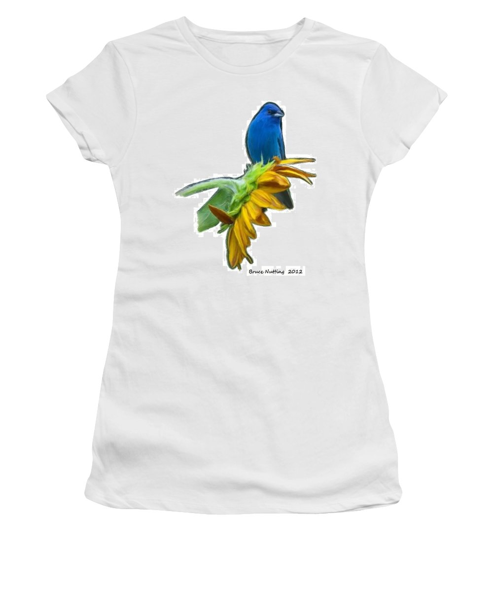 Blue Women's T-Shirt (Athletic Fit) featuring the painting Tweet Tweet by Bruce Nutting