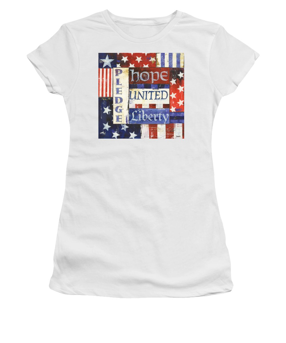 Hope Women's T-Shirt featuring the painting Usa Pride 1 by Debbie DeWitt
