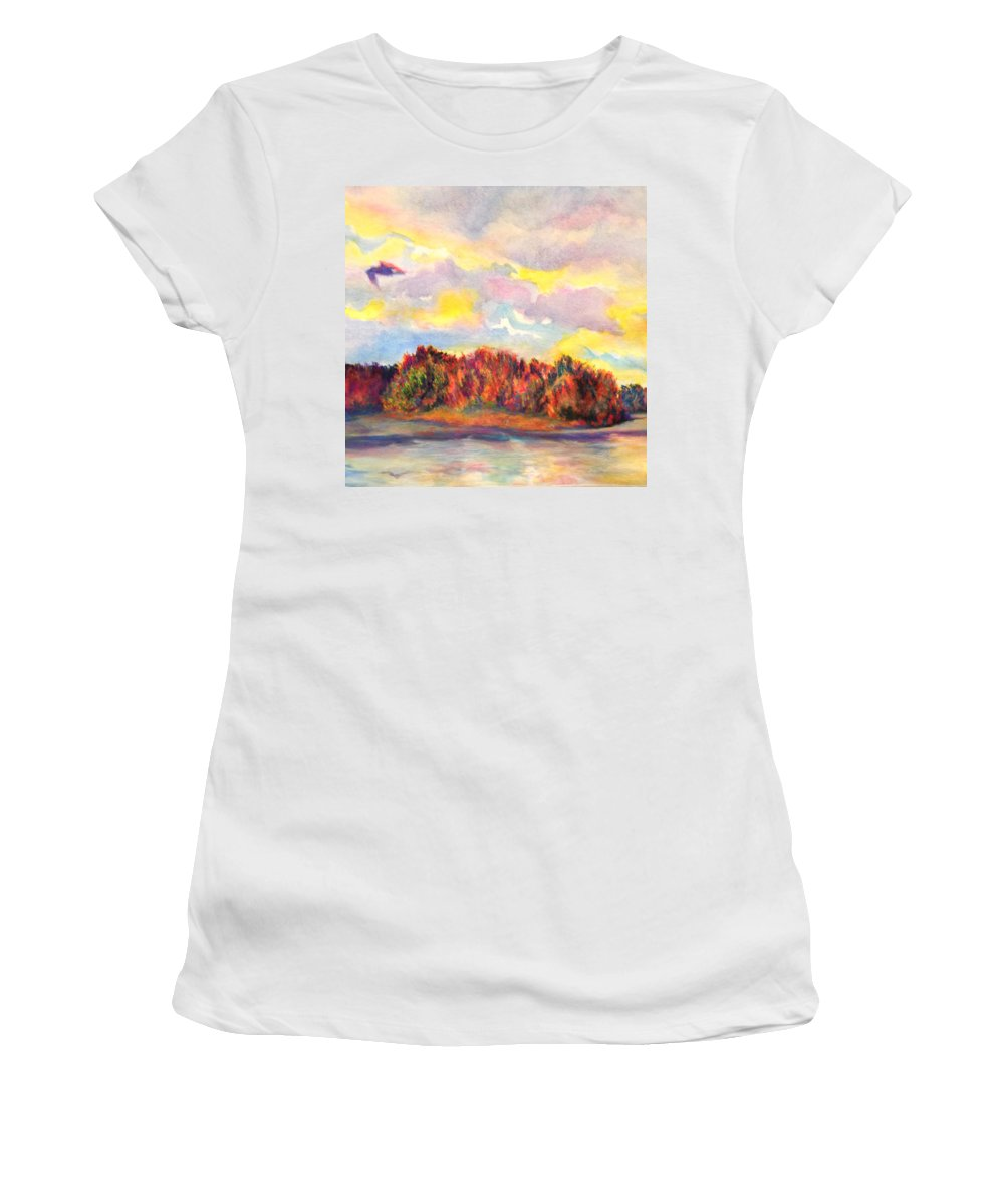 Sunset Women's T-Shirt (Athletic Fit) featuring the painting View Of Goat Island From Clackamette Park by Anna Porter