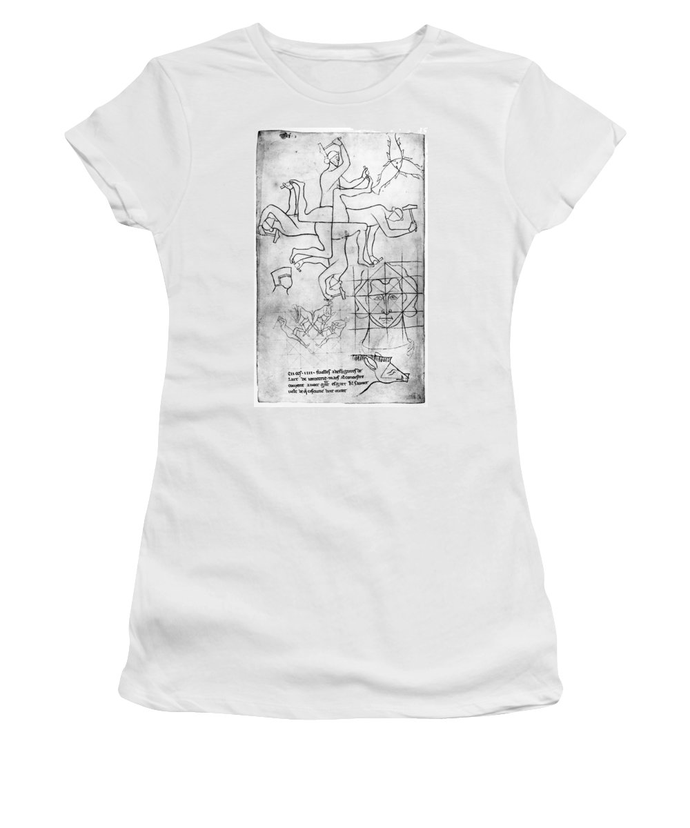 13th Century Women's T-Shirt (Athletic Fit) featuring the drawing Villard De Honnecourt (c1225-c1250) by Granger