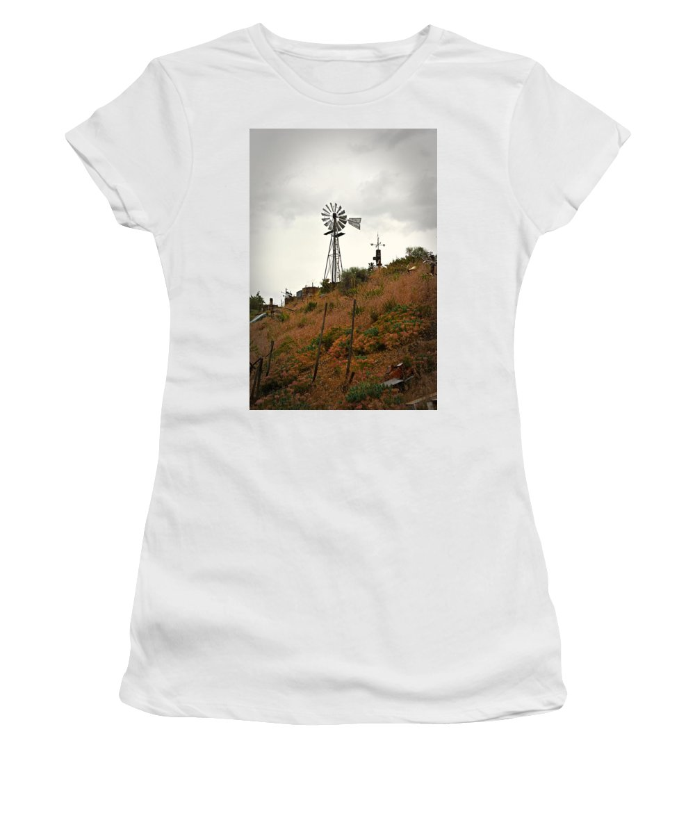 Melba Women's T-Shirt (Athletic Fit) featuring the photograph Windmill by Image Takers Photography LLC