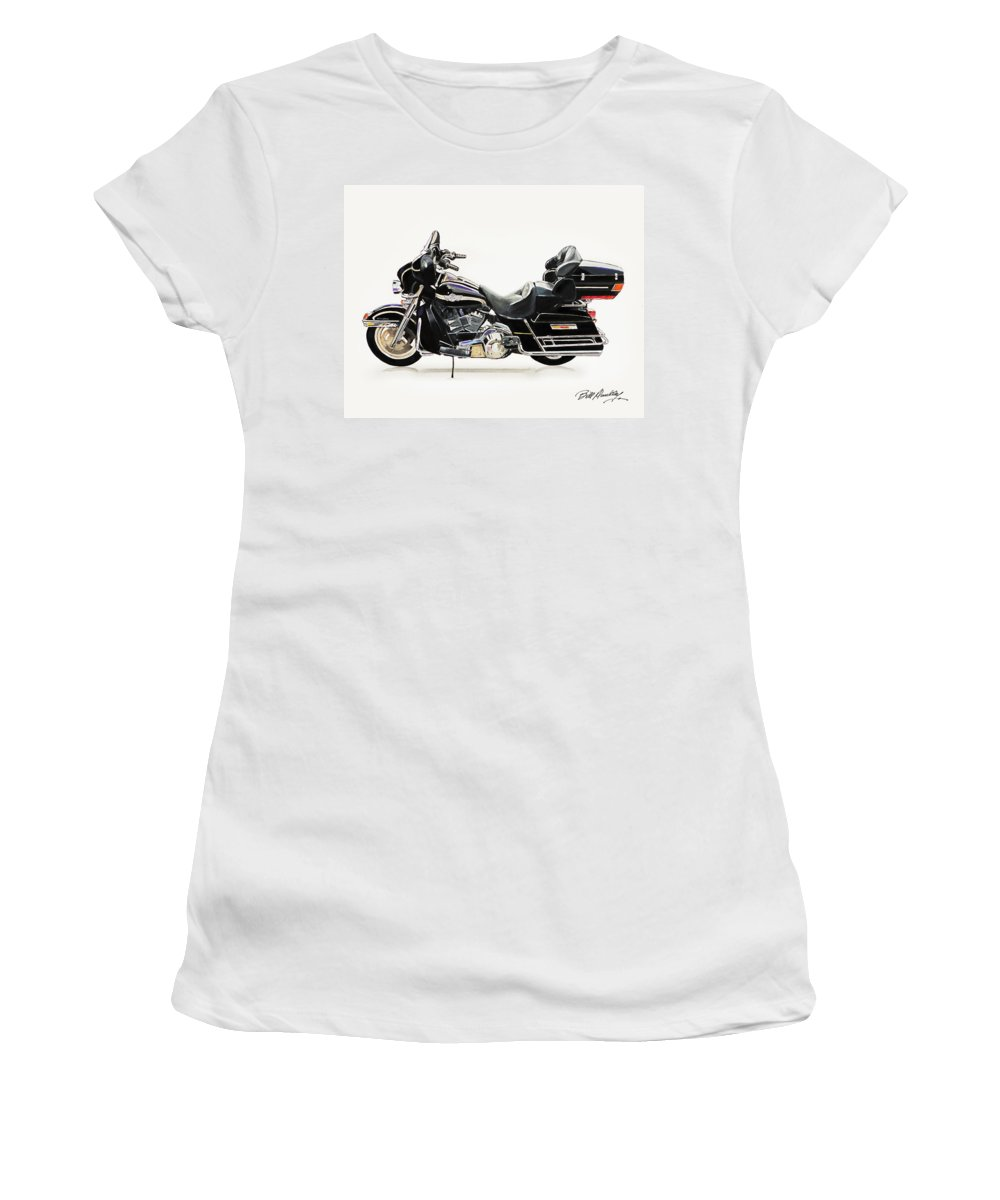Harley Davidson Motorcycle Women's T-Shirt featuring the painting 2003 Harley Davidson by Bill Dunkley