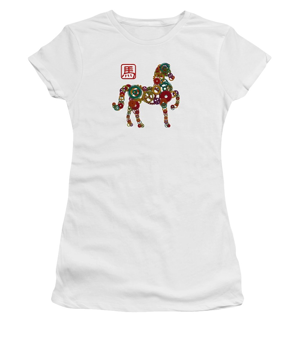 Chinese Women's T-Shirt featuring the photograph 2014 Chinese Wood Gear Zodiac Horse Illustration by Jit Lim