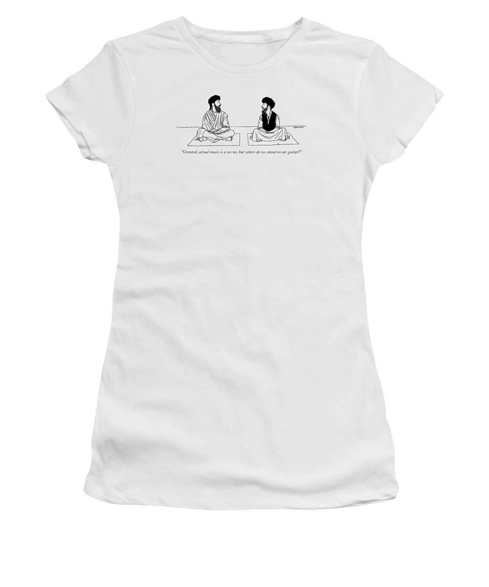 Religion Islam Regional Middle East  (two Middle Eastern Men Talking.) 120523 Age Alex Gregory Women's T-Shirt featuring the drawing Granted, Actual Music Is A No-no, But Where by Alex Gregory