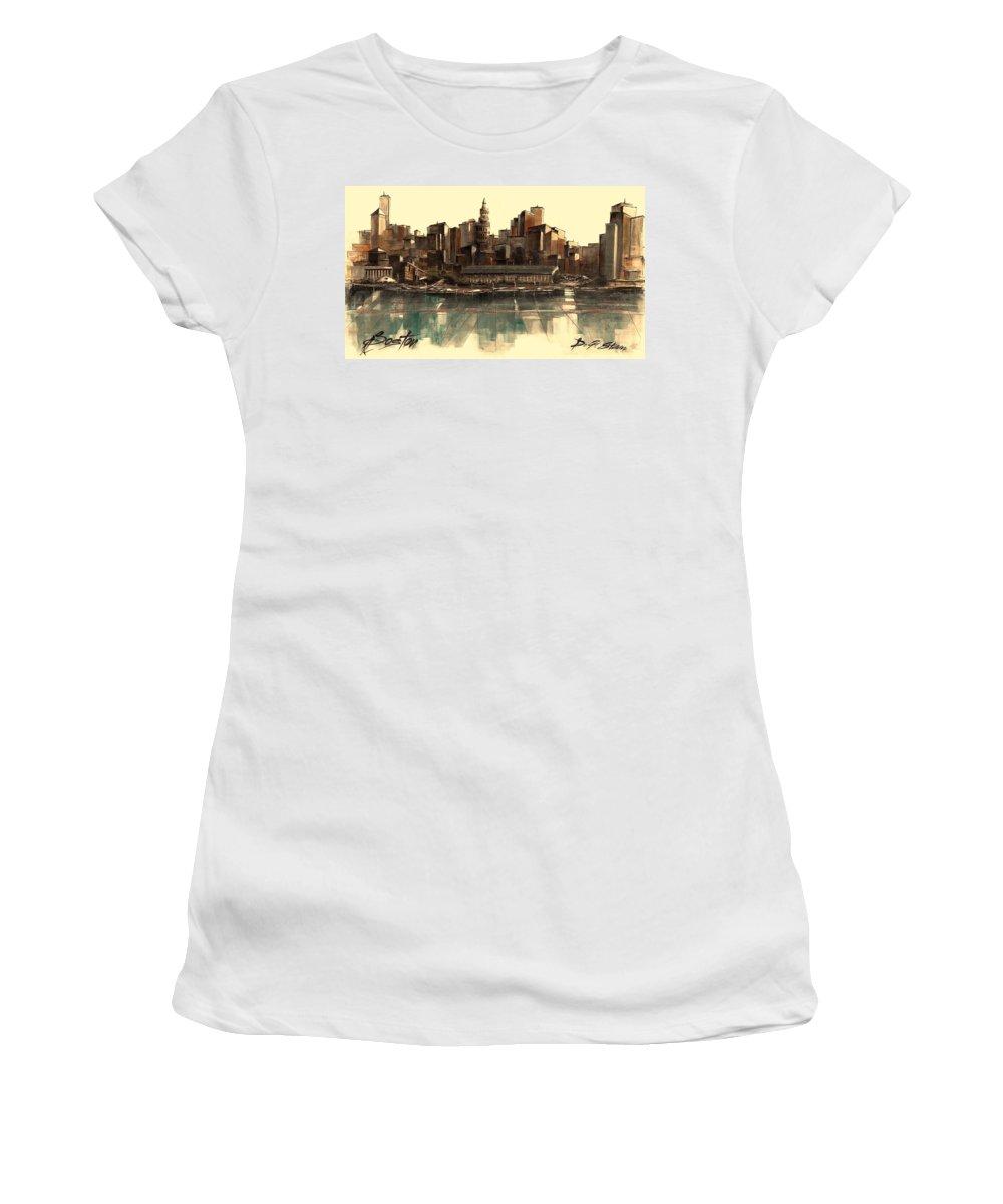 Fineartamerica.com Women's T-Shirt featuring the painting Boston Skyline by Diane Strain