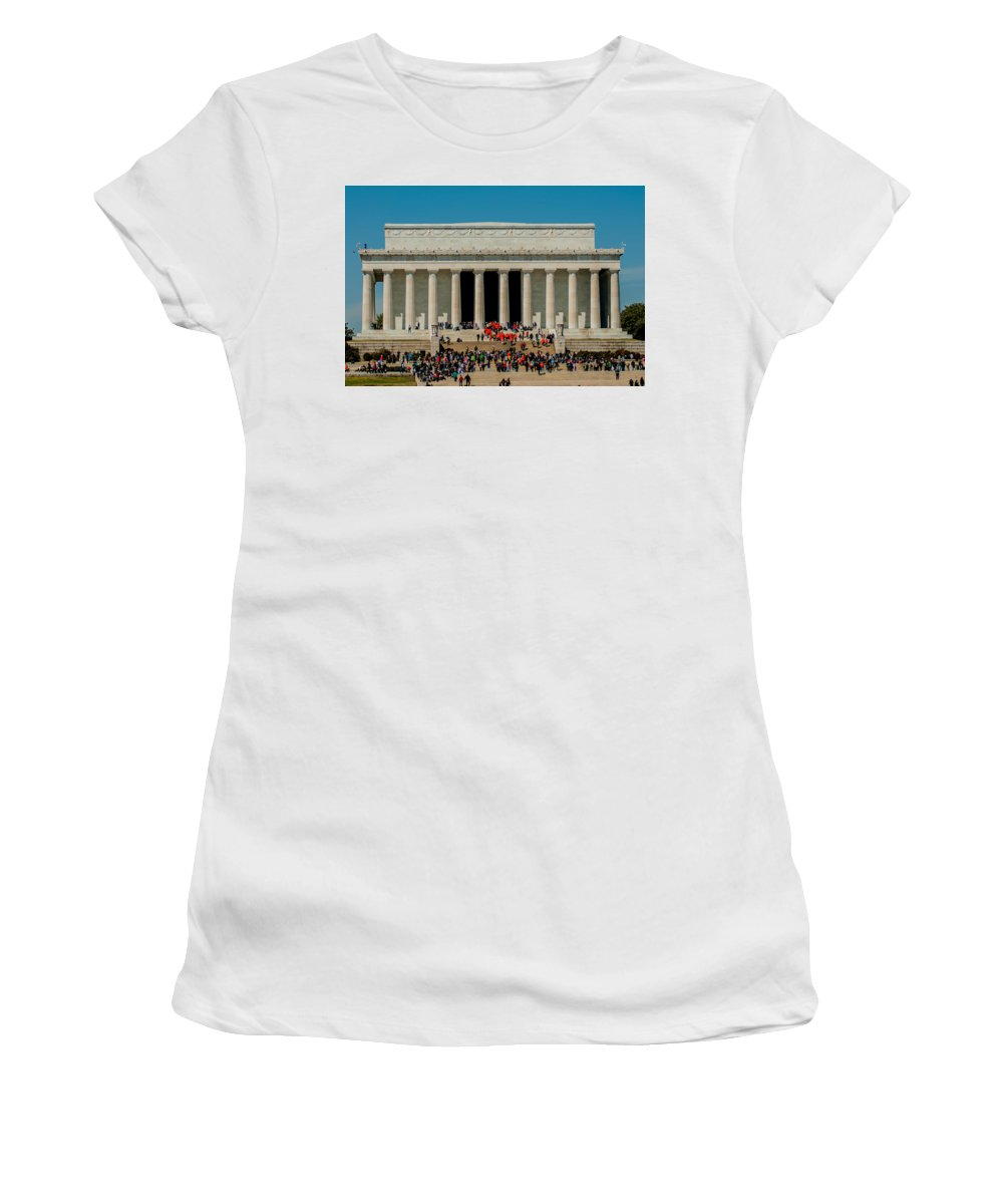 District Women's T-Shirt (Athletic Fit) featuring the photograph Abraham Lincoln Memorial In Washington Dc Usa by Alex Grichenko