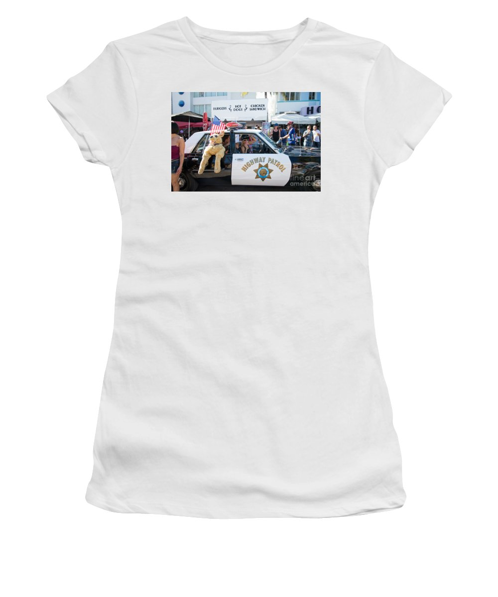 Cars Women's T-Shirt featuring the digital art Ford Diplomat Police Car by Carol Ailles