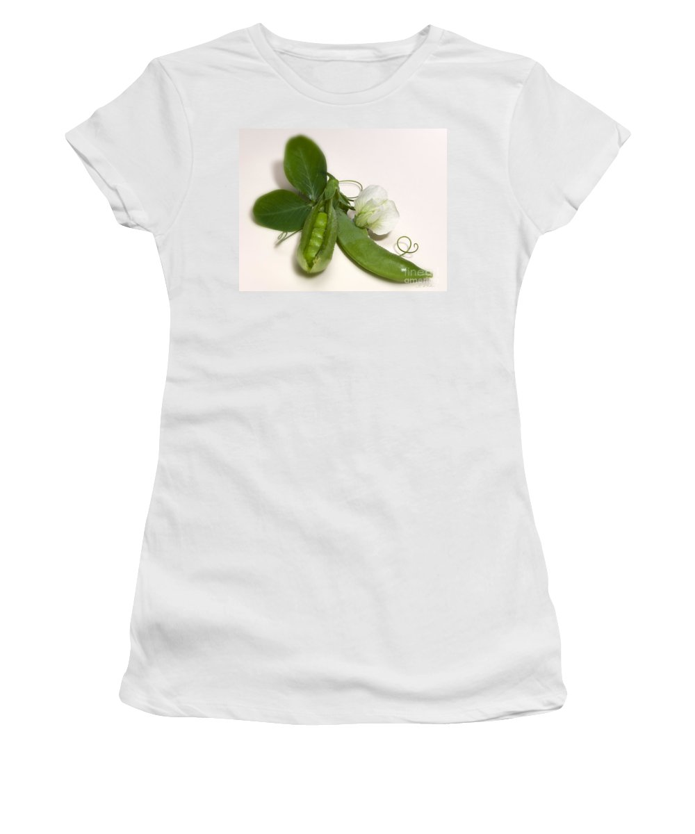 Iris Holzer Richardson Women's T-Shirt featuring the photograph Green Peas In Pod With White Flower by Iris Richardson