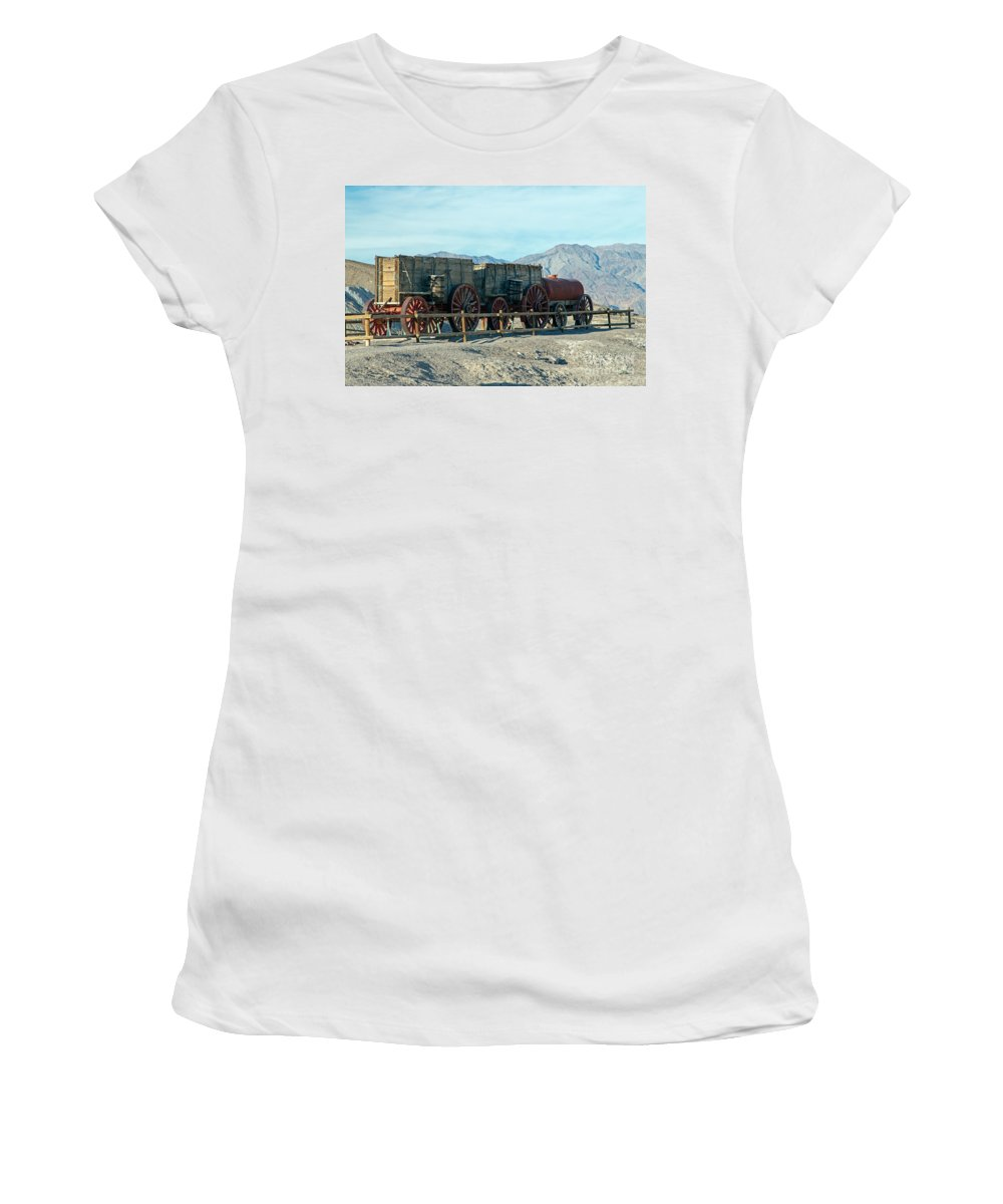 California Women's T-Shirt (Athletic Fit) featuring the photograph Harmony Borax Works Death Valley National Park by Fred Stearns