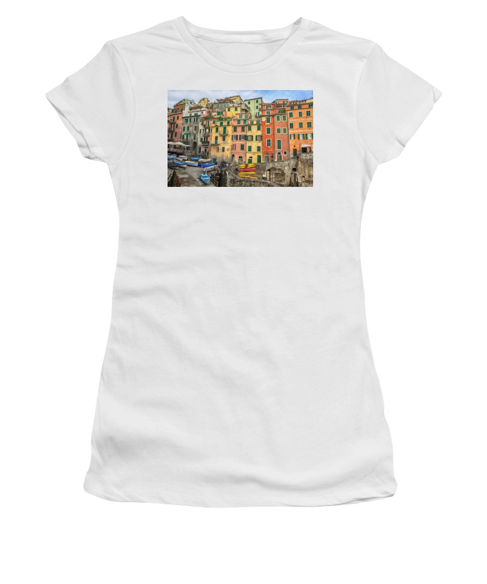Riomaggiore Women's T-Shirt (Athletic Fit) featuring the photograph Riomaggiore by Joana Kruse