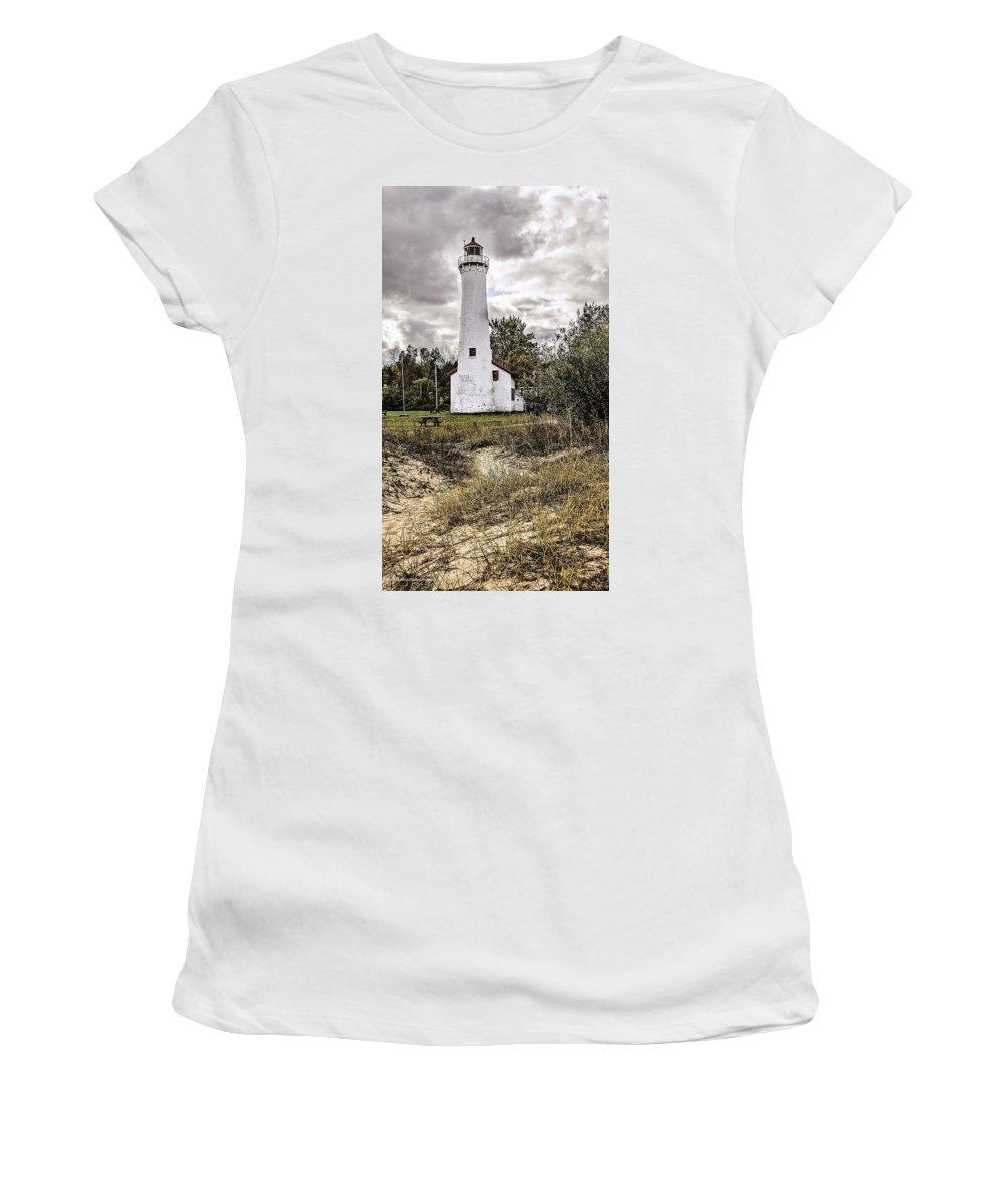 Usa Women's T-Shirt (Athletic Fit) featuring the photograph Sturgeon Point Lighthouse by LeeAnn McLaneGoetz McLaneGoetzStudioLLCcom
