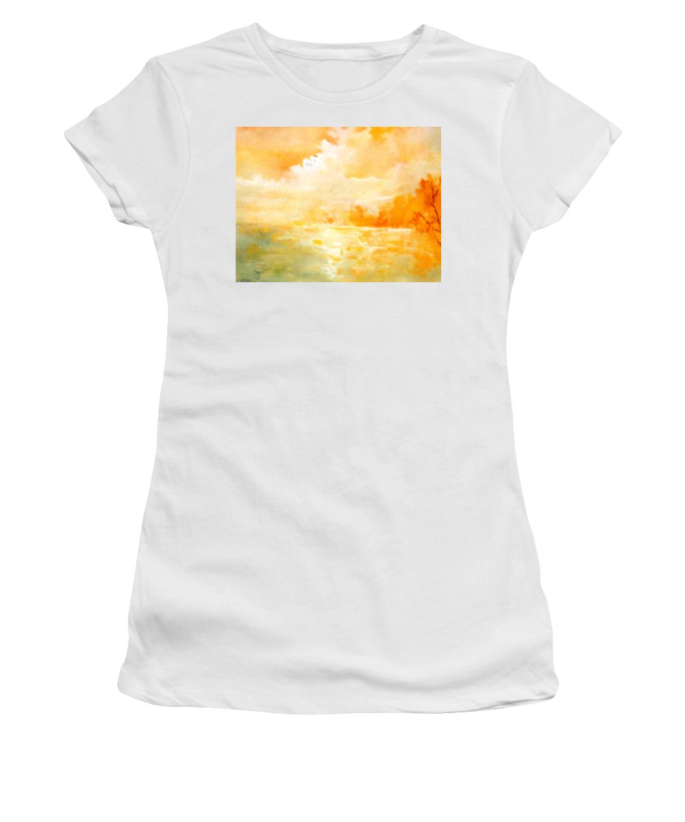 Lyle Women's T-Shirt (Athletic Fit) featuring the painting Sunset by Lord Frederick Lyle Morris