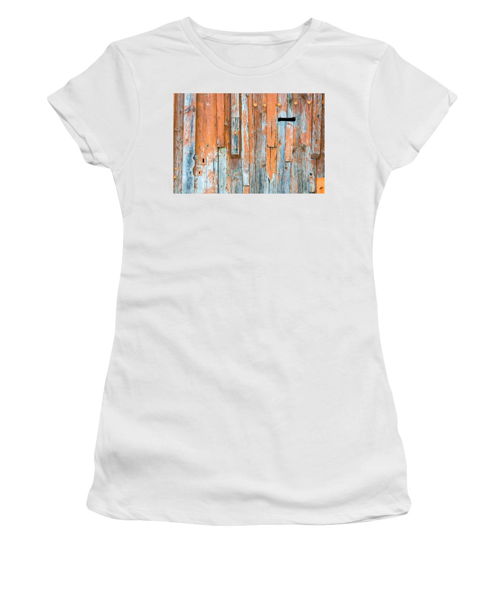 Age Women's T-Shirt (Athletic Fit) featuring the photograph Wood Texture by Alain De Maximy